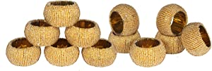 Beaded Napkin Ring Set of 12- Gold, Glass Beaded Napkin Holder, Perfect for Christmas, Thanksgiving, Family Gathering, Hand Made by Skilled artisans- A Beautiful complement to Your Dinner Table décor