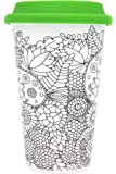 Color Joy I Am Not A Paper Cup, Travel Coffee Mug Flowers Adult Coloring Products, White