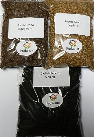Alimento en gránulos para peces tropicales, 3 paquetes de alimentos variados para peces, gránulos de gusanos ...