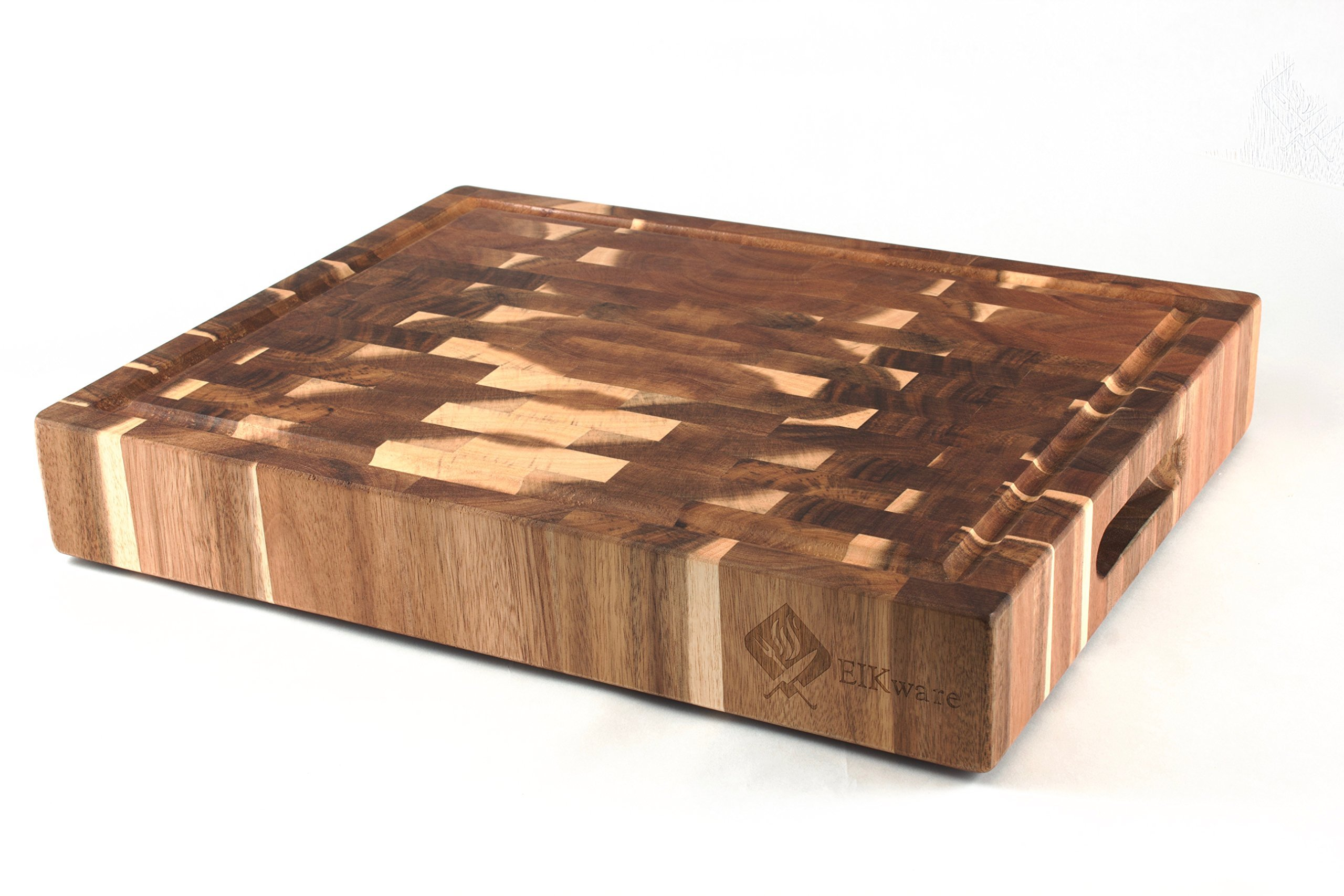 EIKware Large End Grain Cutting Board | Acacia Wood | 15.2 x 11.8 x 2.6 inches | Integrated Juice Groove and Carrying Handles | Non Slip Rubber Feet