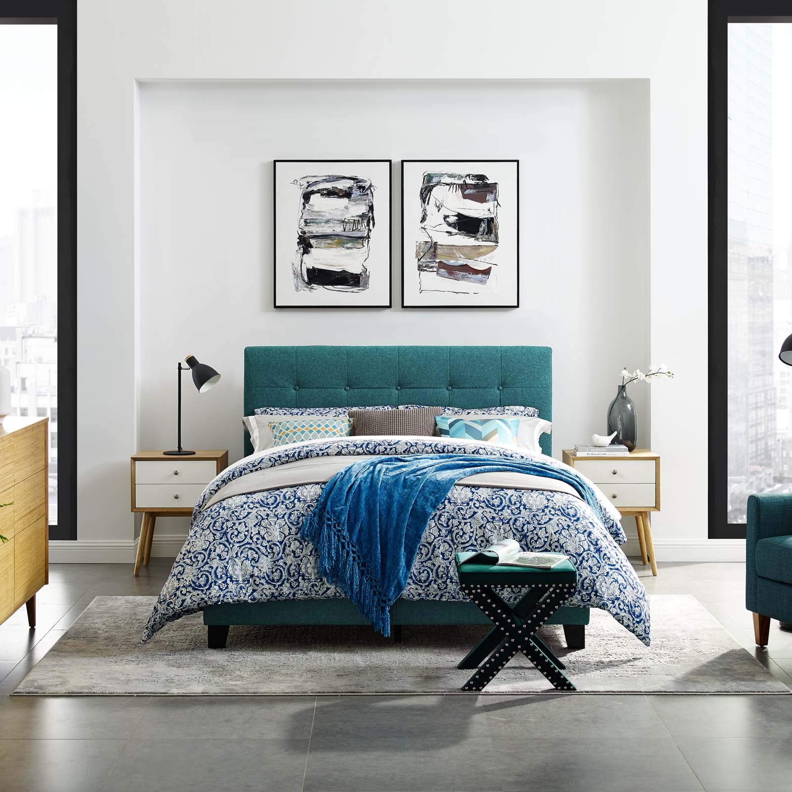Modway Amira Mid-Century Modern Upholstered Fabric Tufted King Bed Frame With Headboard In Teal by Modway