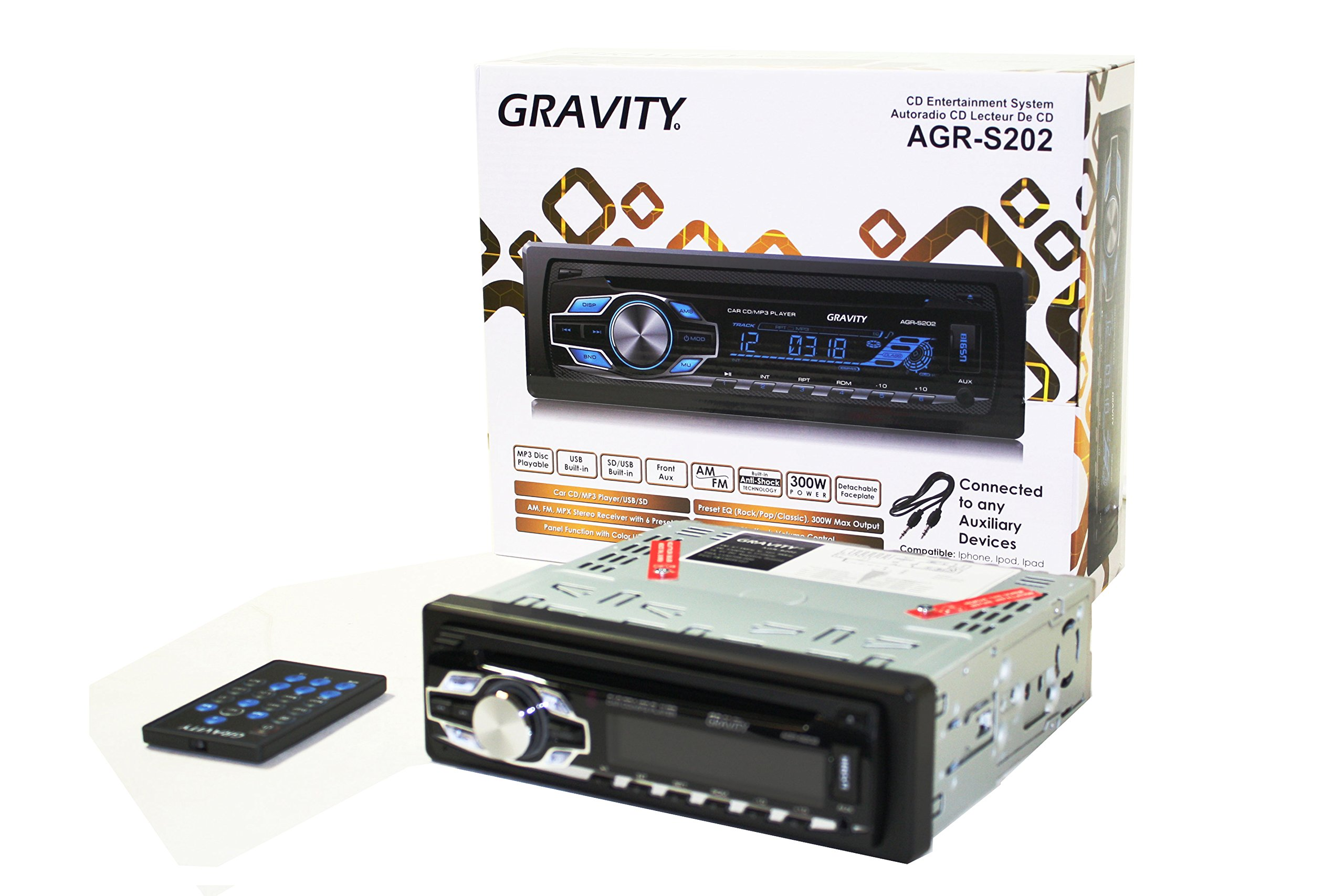 Gravity AGR-S202 Car Entertainment System CD-Receiver Built-in SD/USB/Front Aux Mp3 Disc Playable