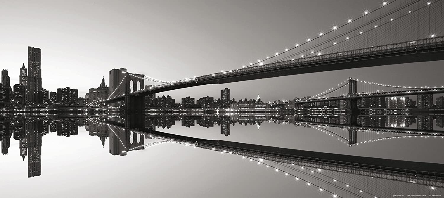 Brooklyn Bridge With Reflection New York City At Dusk Black And