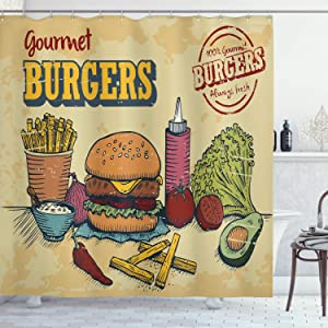 Ambesonne Hamburger Shower Curtain, Retro Hand Drawn Style Burger and Ingredients Gourmet Taste Delicious Fast Food, Cloth Fabric Bathroom Decor Set with Hooks, 70