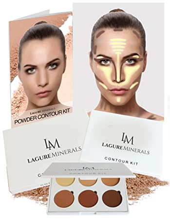 bronzer contour. lagure minerals powder contour kit - premium bronzer and palette for flawless highlighting contouring