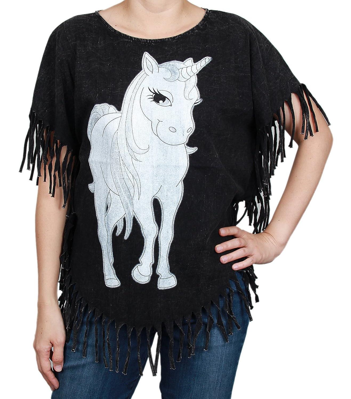 Sweet Unicorn Animal Stonewashed Bleached Bohemian Hippy Boho Top Shirt