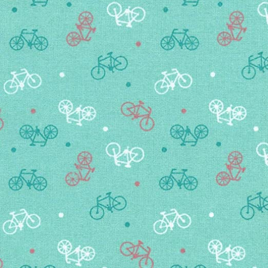 Bicicletas sobre fondo azul pálido 100/% algodón-Riley Blake Tela Por cuarto gordo