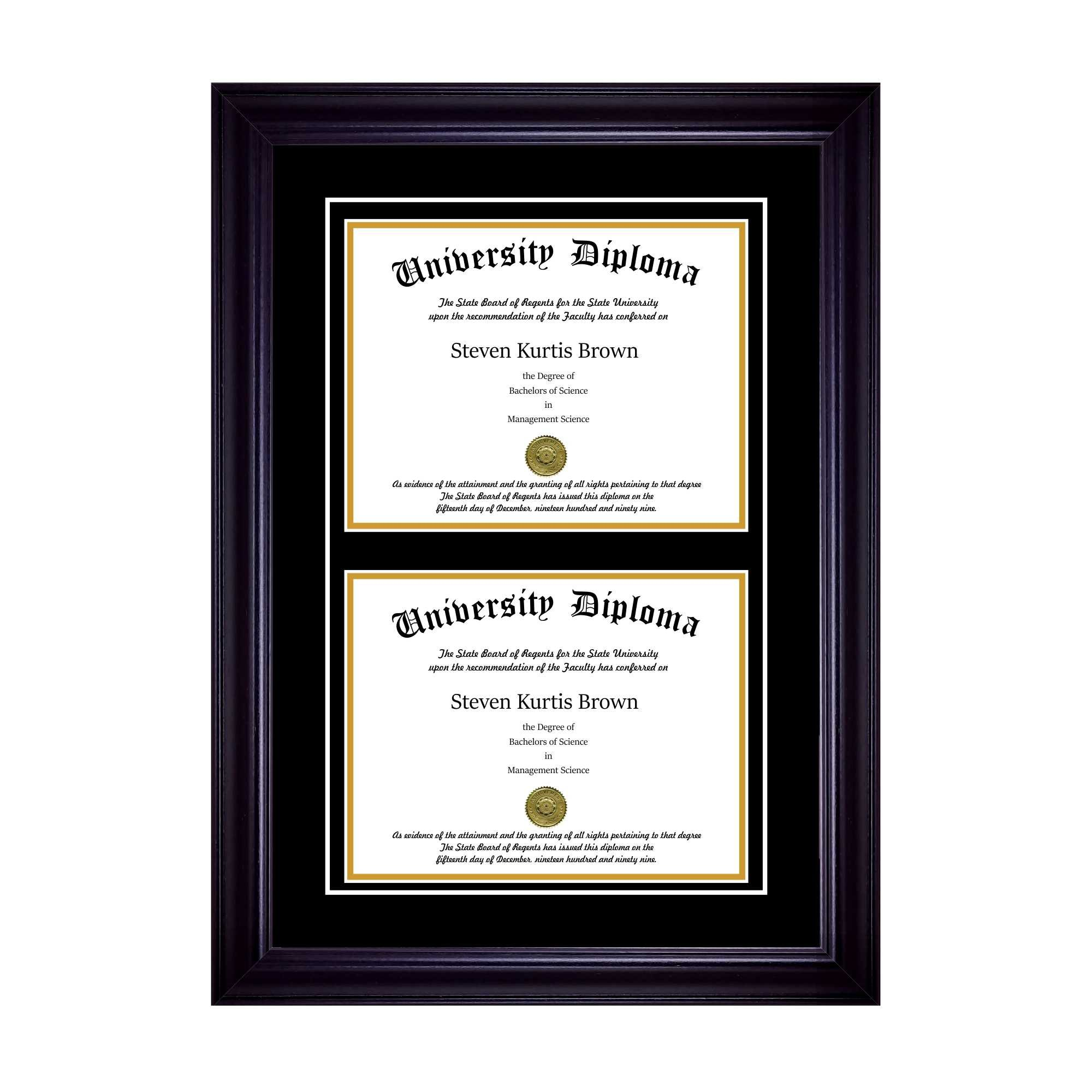 Perfect Cases Double Diploma Frame with Double Matting for 8.5'' x 11'' Tall Diploma with Black 2'' Frame