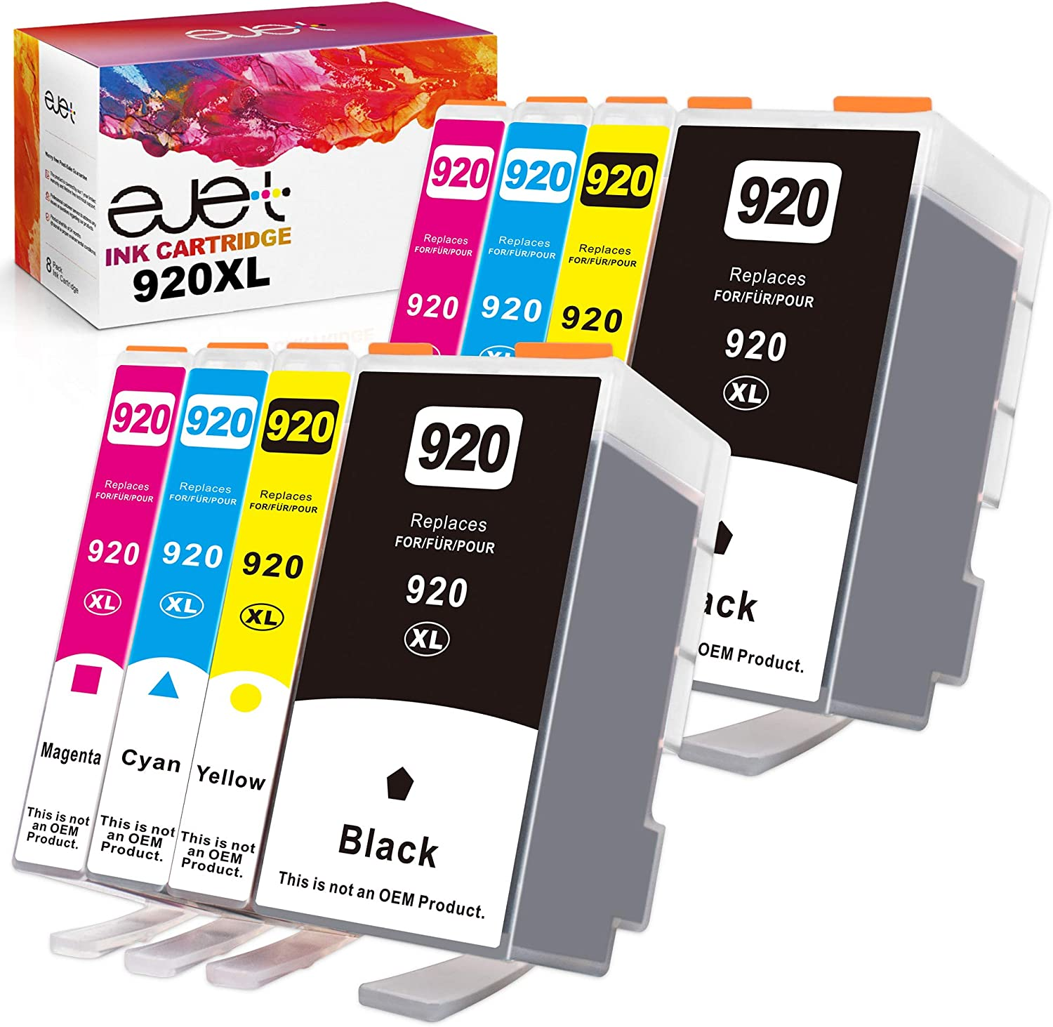 ejet Compatible Ink Cartridge Replacement for HP 920XL 920 XL to use with Officejet 6500a 6500 7500a 6000 7500 7000 Plus Printer (2 Large Black, 2 Cyan, 2 Magenta, 2 Yellow, 8-Pack)