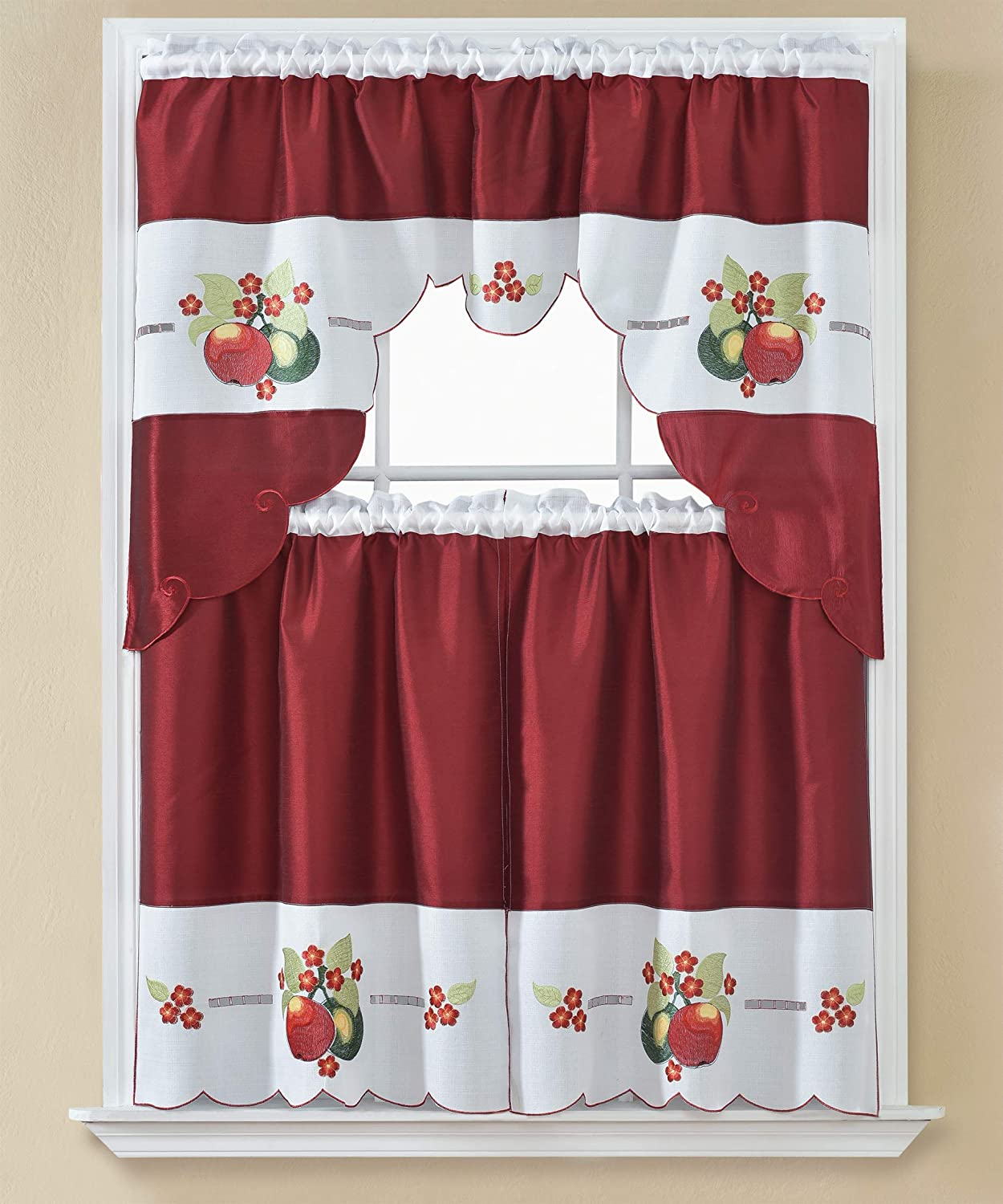 American Linen 3 Piece Embroidered Window Curtain Set, Valance and Tiers, with Embroidery (Red)