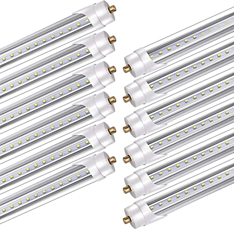 Amazon Com Bbounder 12 Pack Led Tube Light 8ft For T8 Or T12 Flourescent Light Bulbs 120w Replacement 45w Fa8 Single Pin Base 5200lm 6000k Dual Ended Power Ballast Bypass Etl Listed Home Improvement