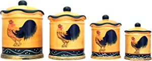 Tuscany Sunshine Country Rooster, Hand Painted Canisters, Set of 4, 85701 by ACK