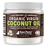 Raw Paws Organic Virgin Coconut Oil for Dogs & Cats, 4-oz - Supports Immune System, Digestion, Oral Health, Thyroid - All Natural Allergy Relief for Dogs, Hairball Relief, Tick Flea Control for Dogs