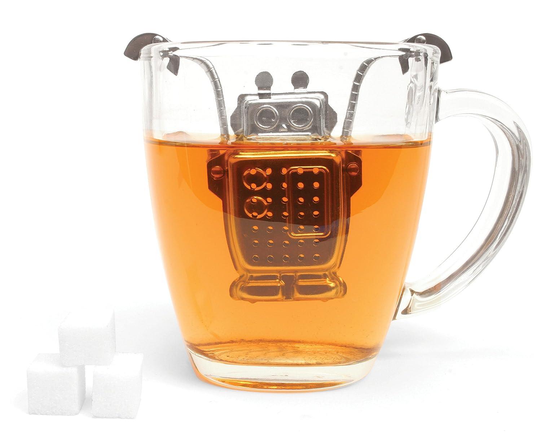 Kikkerland Stainless Steel Robot Tea Infuser, Silver CU38
