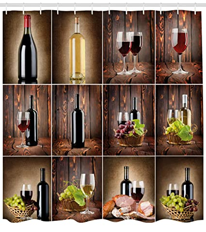 Ambesonne Wine Shower Curtain Themed Collage On Wooden Backdrop With Grapes And Meat Rustic