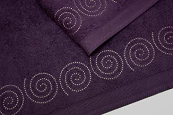 Montse Interiors Juego de Toallas Bordadas 2 Piezas 550gr Espiral Nº3 (Violeta): Amazon.es: Hogar