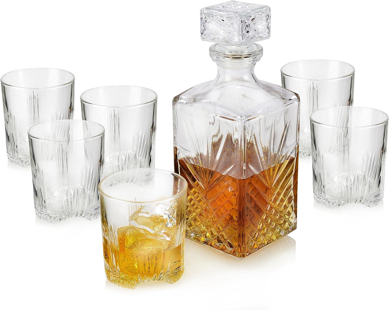 Bormioli – Juego de Vasos de Cristal de 280 ml para Whisky con Botella de 1 litro y tapón de Cristal