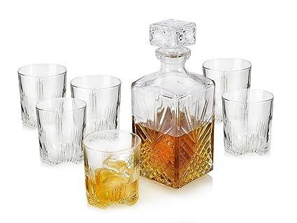 Bormioli – Juego de Vasos de Cristal de 280 ML para Whisky con Botella de 1