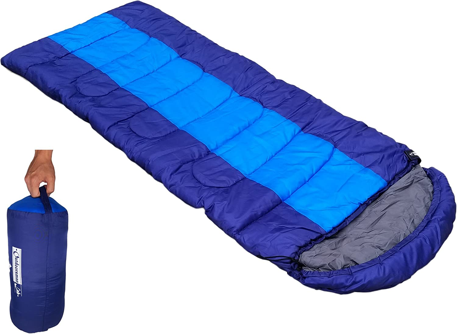 Outdoorsman Lab Sleeping Bag | Lightweight Backpacking & Camping Sleeping Bag for Adults & Kids | 3 Season, Durable Ripstop Nylon, Tear & ...