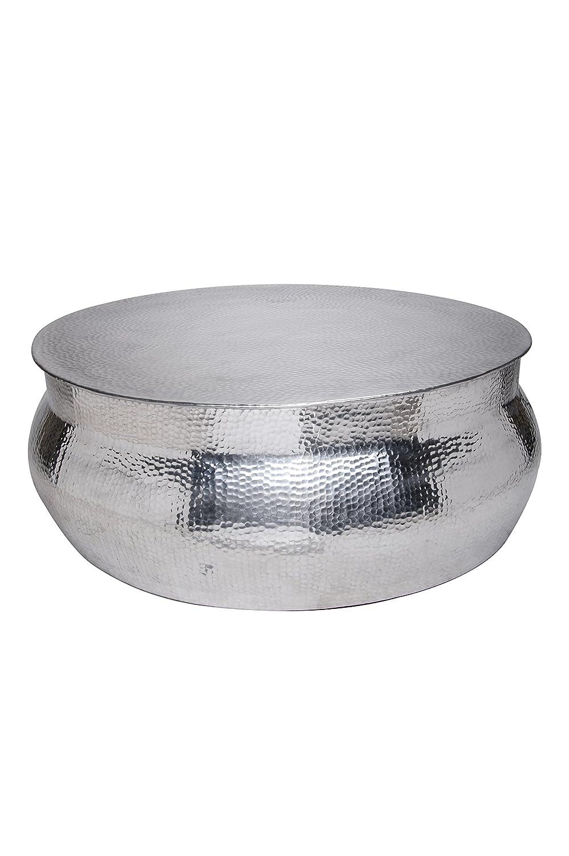MAADES Wohnzimmertisch Couchtisch rund modern aus Metall ø 90cm   Marokkanischer runder Vintage Tisch aus Aluminium für Ihre Wohnzimmer   Moderner Design Sofatisch in Silber Hochglanz -Leela ø 90cm