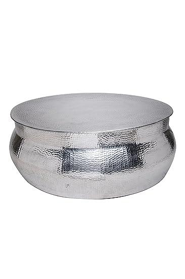 MAADES Wohnzimmertisch Couchtisch Rund Modern Aus Metall ø 90cm |  Marokkanischer Runder Vintage Tisch Aus Aluminium