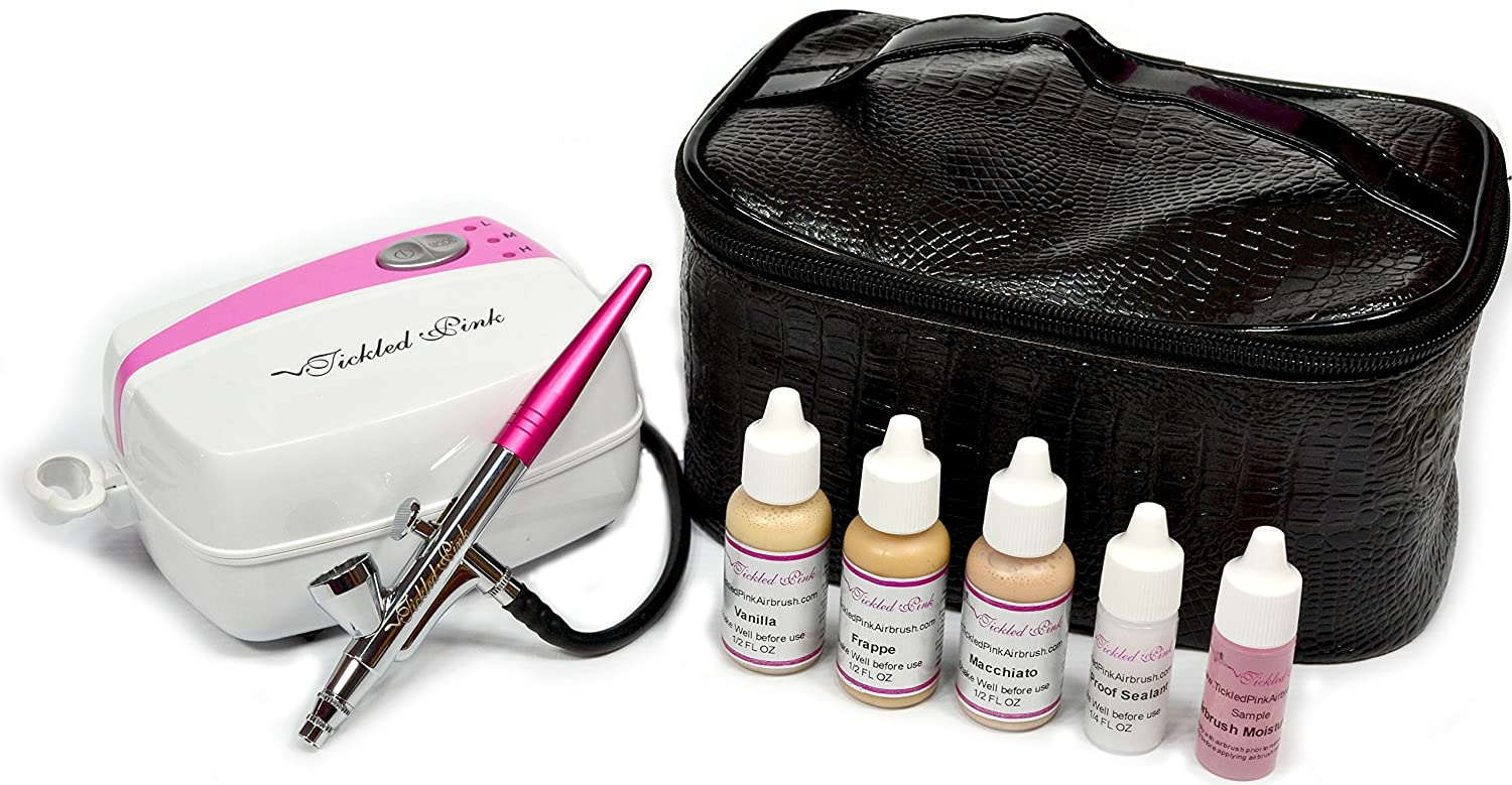 Tickled Pink AirbrushTM Makeup Compressor Kit with Light Shades Foundation Makeup TPA-CosmeticKitLight