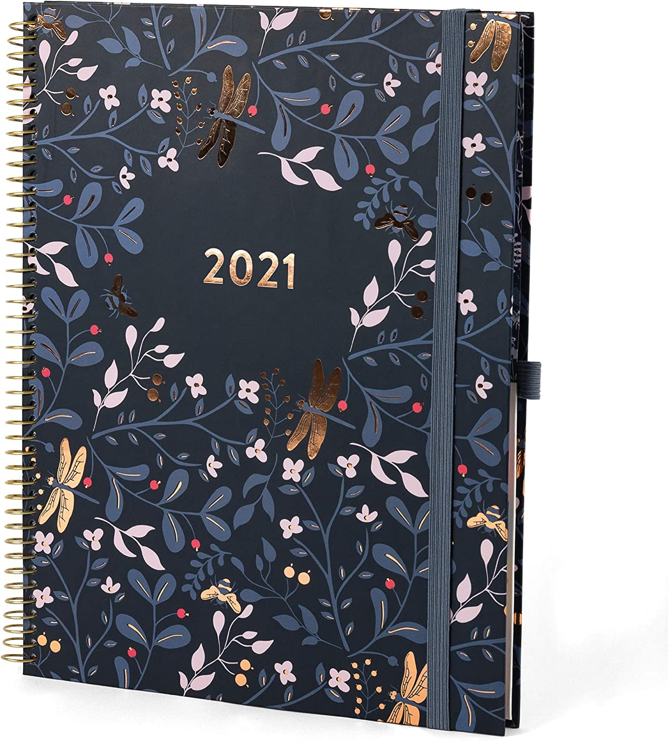 Boxclever Press Planner 2021 8.5 x 11''. New for 2021! 2021 Planner with Tabs Runs Jan - Dec'21. Weekly Planner with Dot Grid Note Pages, Goals & Dreams for 2021 & Planner Stickers. (Midnight Blue)
