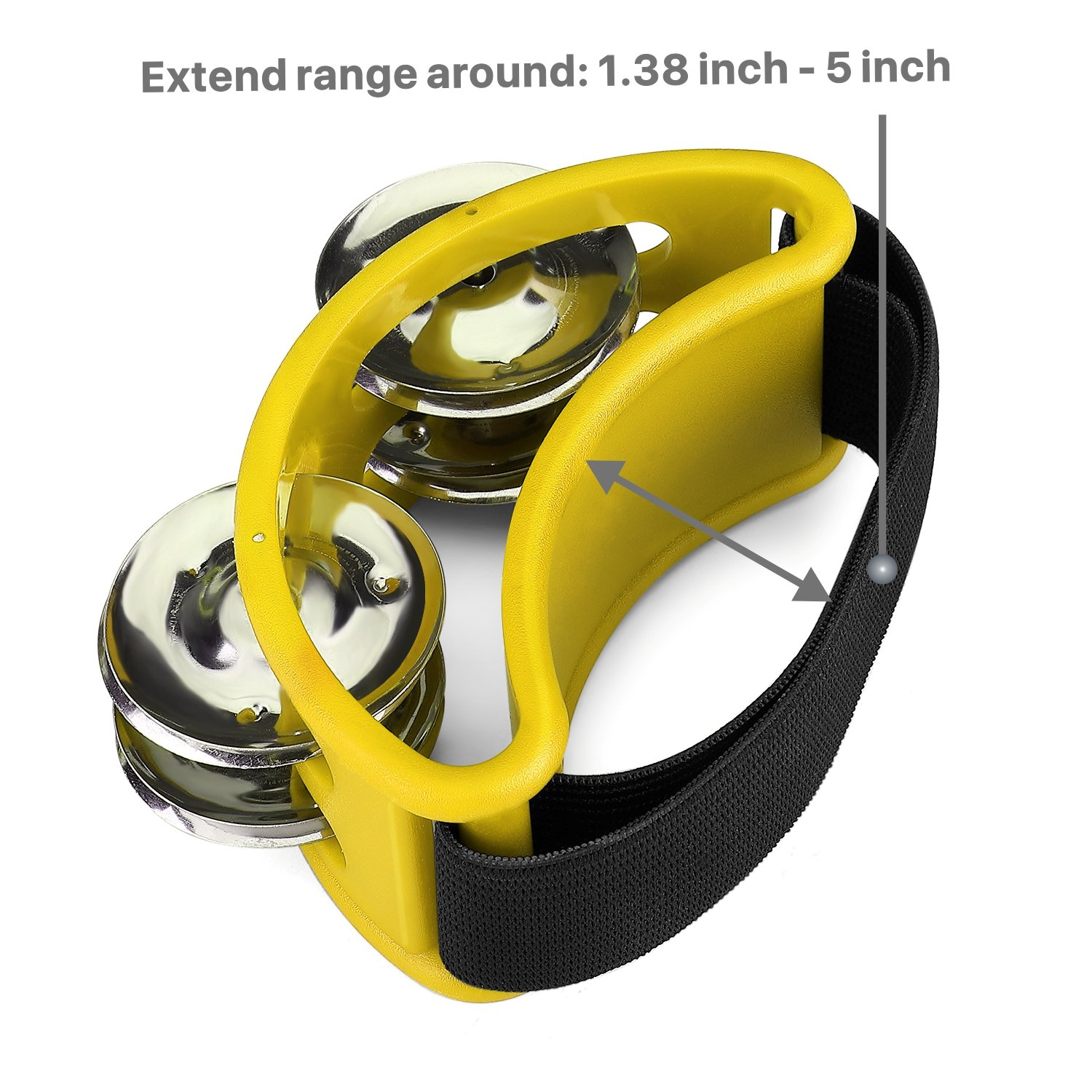 Foot Shaker Musical Instrument Drum for Kids KTV Party Shoes Toy Gift Singer Vocalists Cajon /& Guitar Players Flexzion Foot Tambourine Percussion with Double Row Steel Jingles Yellow