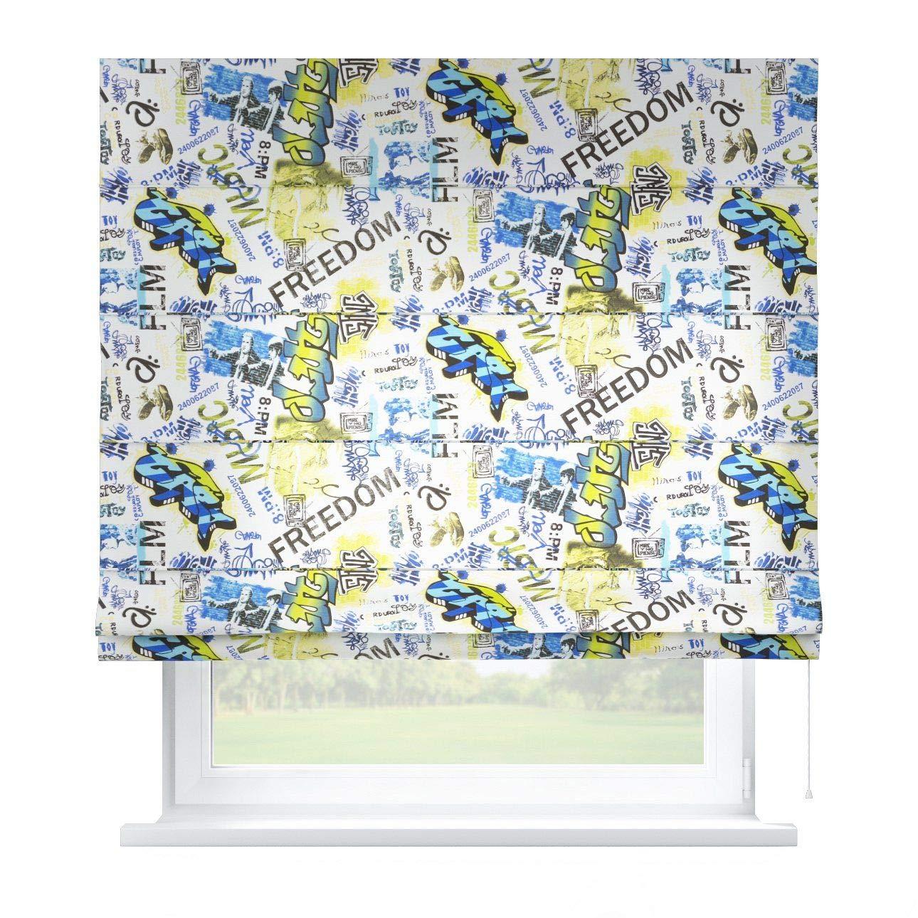 Dekoria Raffrollo Capri ohne Bohren Blickdicht Faltvorhang Raffgardine Wohnzimmer Schlafzimmer Kinderzimmer 130 × 170 cm blau Raffrollos auf Maß maßanfertigung möglich
