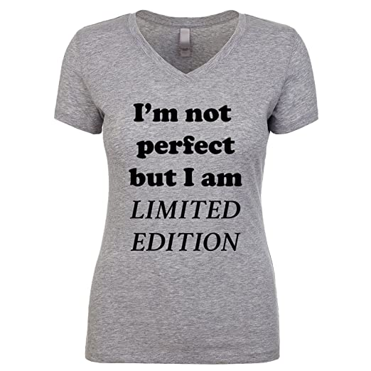b8dd010729 I'm Not Perfect But I Am Limited Edition Women's V Neck Shirt Heather Small