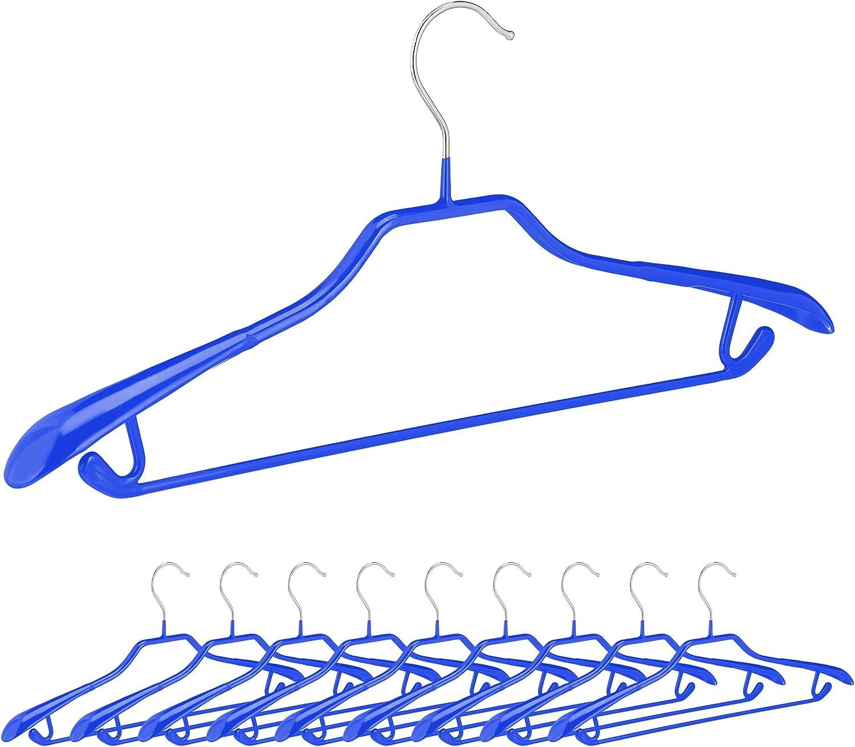 Relaxdays 10032586 Cintres antid/érapants Lot de 10 Bleu Traverse Pantalon Crochets pour Costumes Support d/'/épaules Large