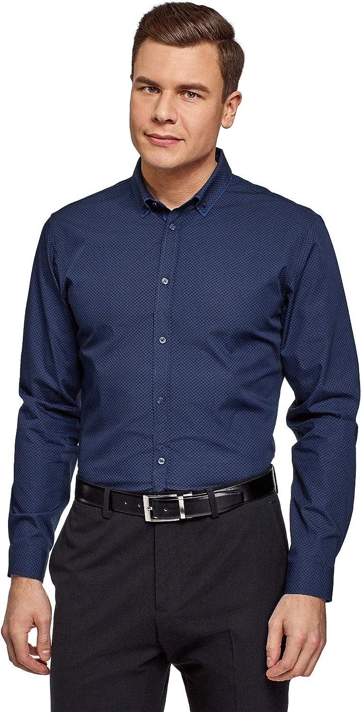 oodji Ultra Hombre Camisa Entallada con Cuello Doble: Amazon.es: Ropa y accesorios