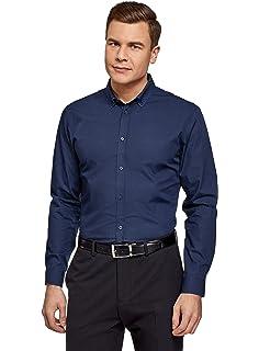 oodji Ultra Hombre Camisa Extra Slim con Cuello Mao: Amazon.es: Ropa y accesorios
