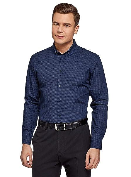 oodji Ultra Hombre Camisa Entallada a Lunares