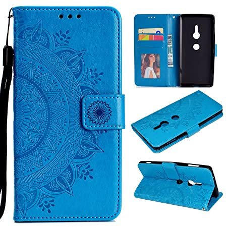 misteem-hlle-xperia-xz2-mandala-floral-brieftasche-3d-retro-schn-sonnenblume-muster-hlle-kartenhalter-abdeckungs-flip-leder-wallet-stossfest-schutzhlle-pu-magnetisch-standfunktion-tasche-handy-hllen-fr-sony-xperia-xz2-blumen-blau