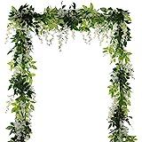 4Pcs 6.6Ft/piece Artificial Flowers Silk Wisteria Garland-Dearhouse Artificial Wisteria Vine Ratta Silk Hanging Flower For Home Garden Outdoor Ceremony Wedding Arch Floral Decor (White)