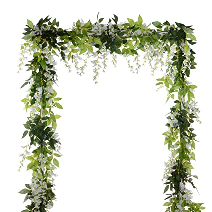 Amazon 4pcs 66ftpiece artificial flowers silk wisteria 4pcs 66ftpiece artificial flowers silk wisteria garland dearhouse artificial wisteria vine rattan mightylinksfo