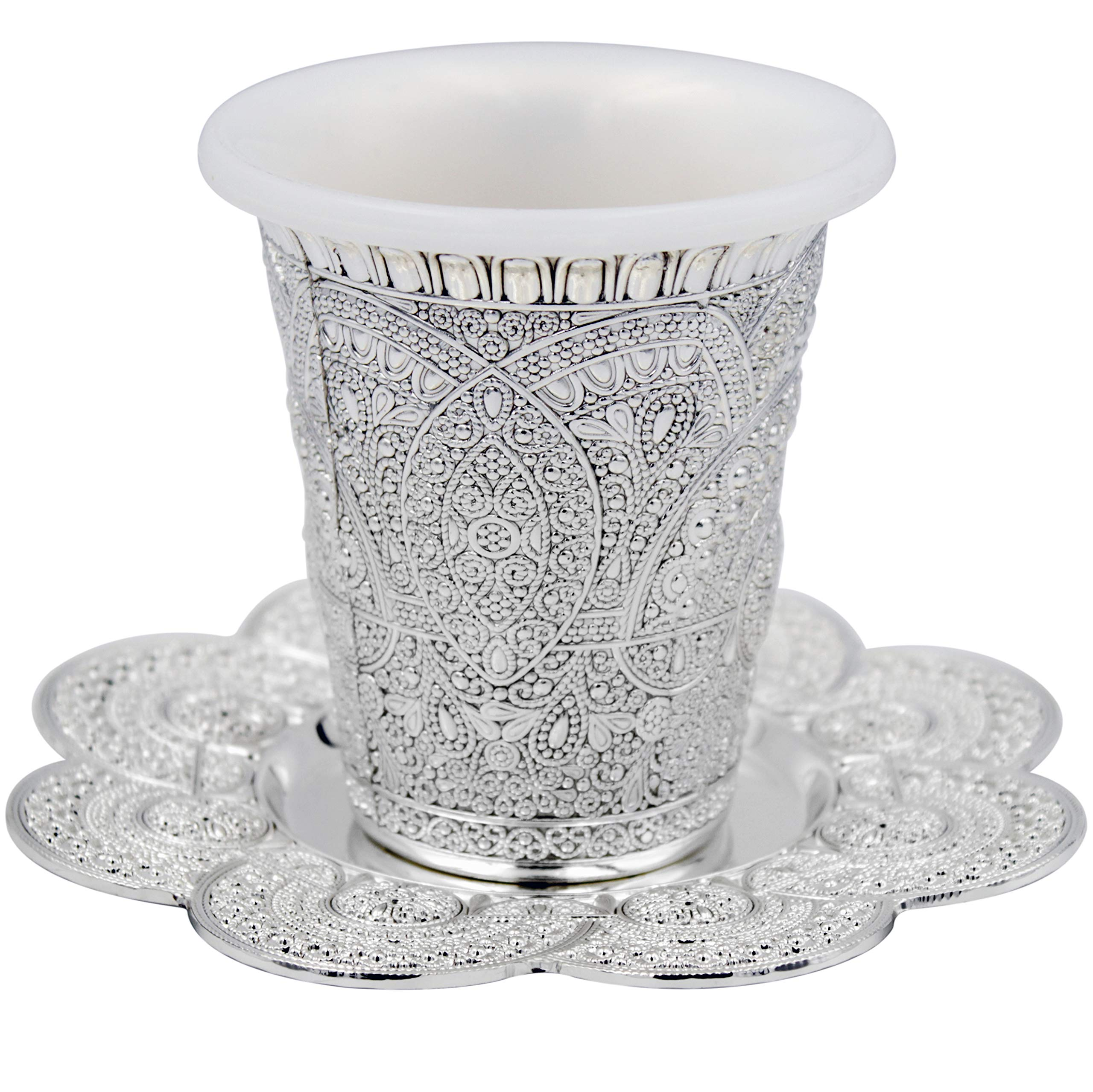 Kiddush Cup With Plate, Silver Plated Elegant Ornate Design 3.8 In.