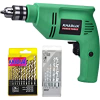 KHADIJA 400WATTS Drill Machine With Speed Regulator , 5Pcs Masonry & 13pc HSS Drill Bits Sets