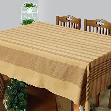 Dhrohar Cotton Woven Table Cover for 6 Seater Table - Brown
