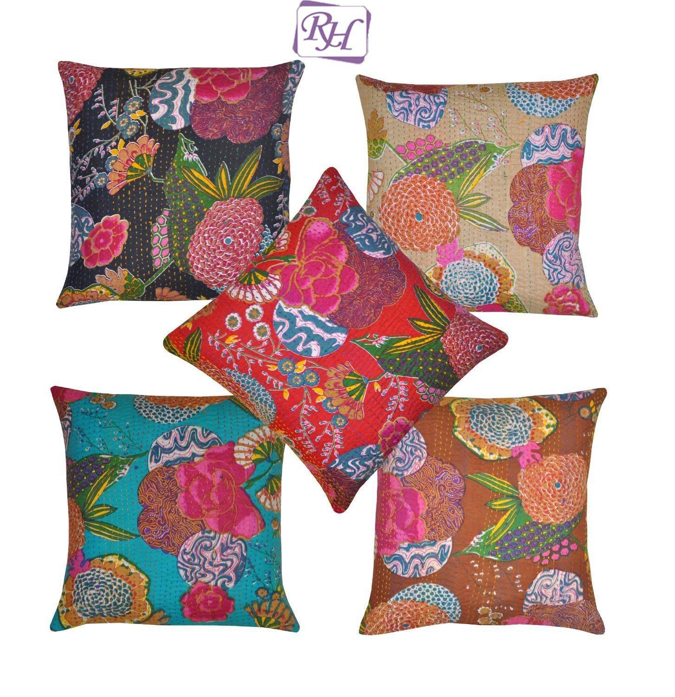 couvre lit indien vintage en soie patola motif kantha fait la main multicolore king size 228 6. Black Bedroom Furniture Sets. Home Design Ideas