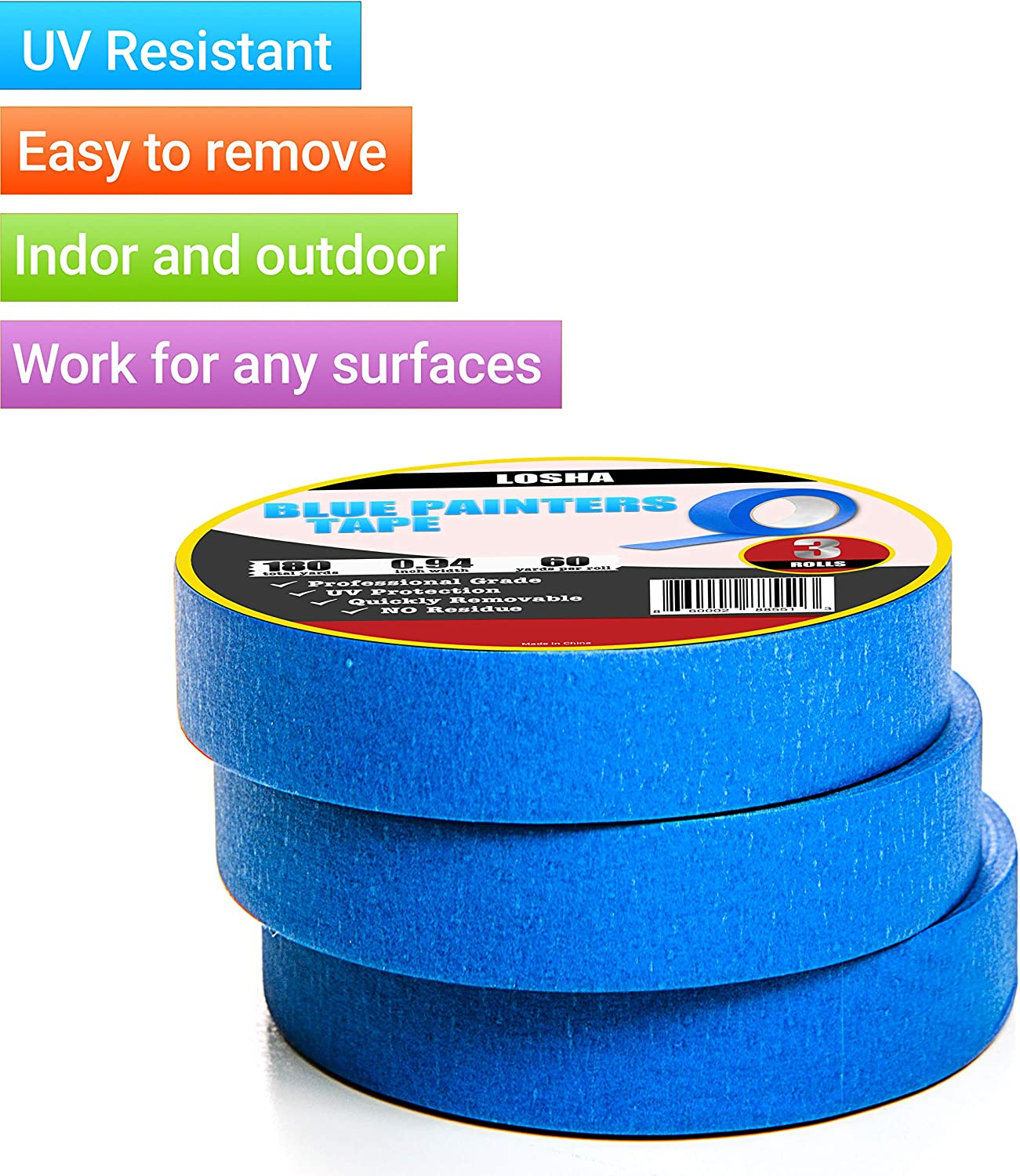 180 Yards Total 3 Rolls.94, 60 Yrd//roll Blue Painters Tape 1 Inch Professional Grade Multi-Surface UV Resistant Masking Tape