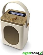 Majority Little Shelford DAB/DAB+ Digital & FM Radio, Portable Wireless, Bluetooth, with Stereo Sound, Dual Alarm Clock/Leather Effect Finish/Mains Powered (Cream)