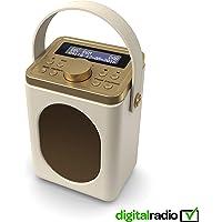 Radio Dab/Dab+ numérique Majority Little Shelford, Radio sans Fil Portable, Bluetooth, avec Son stéréo, réveil Double/Finition Effet Cuir/alimenté par Le Secteur (crème)