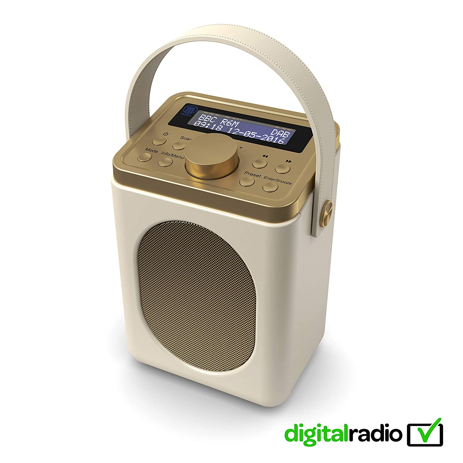 Majority Little Shelford Dabdab Digital Fm Radio Portable Wireless Bluetooth With Stereo Sound Dual Alarm Clockleather Effect Finishmains