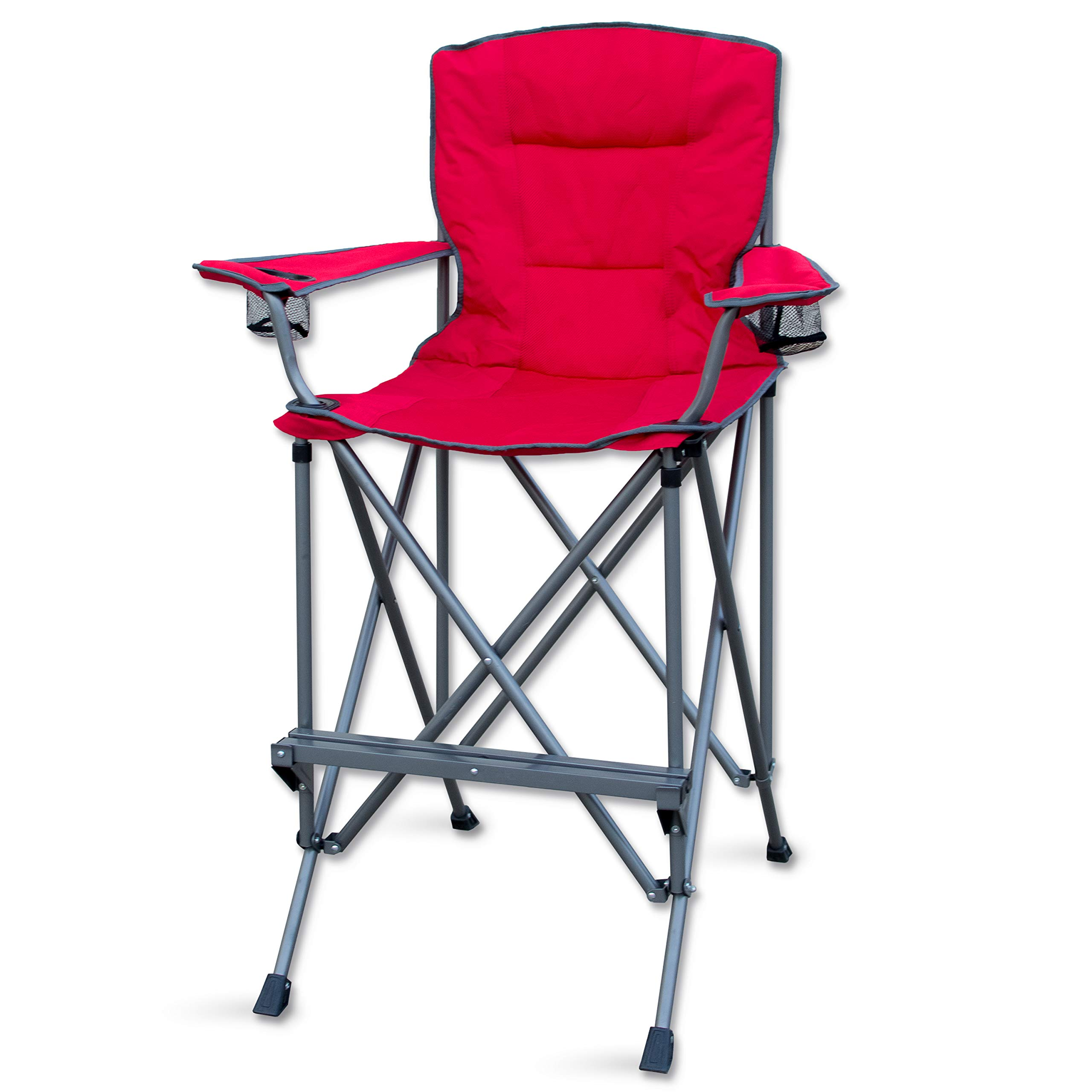 RMS Outdoors Extra Tall Folding Chair - Bar Height Director Chair for Camping, Home Patio and Sports - Portable and Collapsible with Footrest and Carrying Bag - Up to 300 lbs Weight Capacity (Red) by RMS Royal Medical Solutions, Inc.