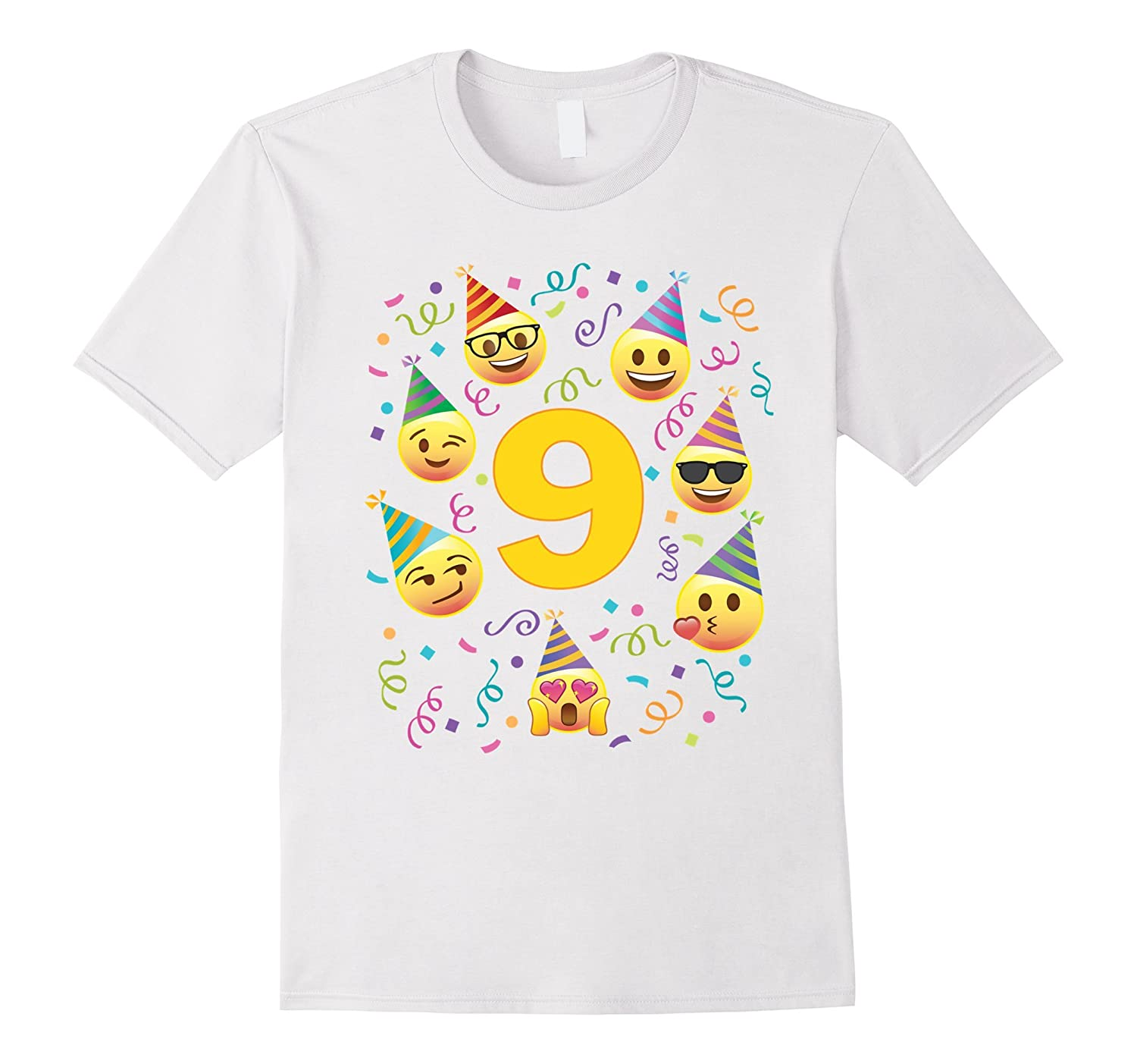 Emoji Birthday Shirt For 9 Nine Year Old Girl Boy Party Tee CD