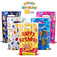 GWHOLE 50 Pack Birthday Goody Bags, Christmas Party Candy Bags Cookie Biscuit Bags Tote Gift Bags for Christmas, Party…