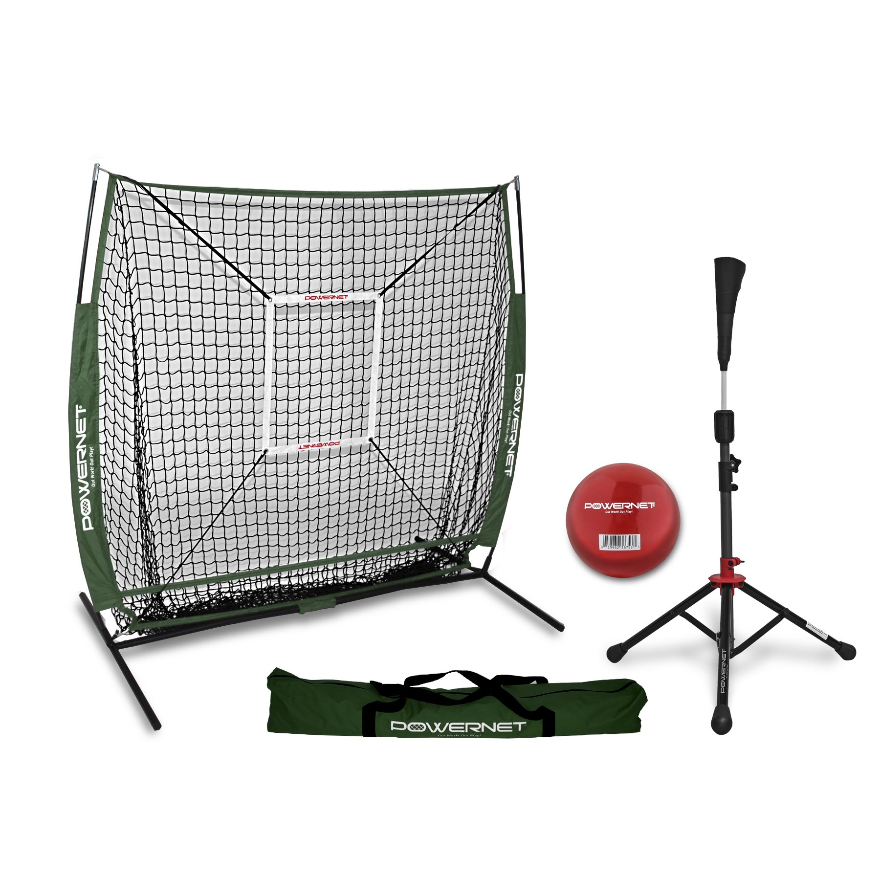 PowerNet 5x5 Practice Net + Deluxe Tee + Strike Zone + Weighted Training Ball Bundle (Green) | Baseball Softball Pitching Batting Coaching Pack | Work on Pitch Accuracy | Build Plate Confidence