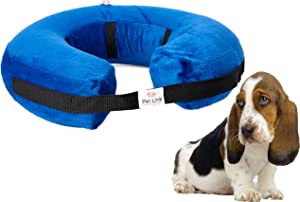 Inflatable Dog Collar, Recovery Cone, After Pet Surgery, Prevent Dogs from Biting & Scratching, Adjustable Thick Strap, Soft Comfortable Donut